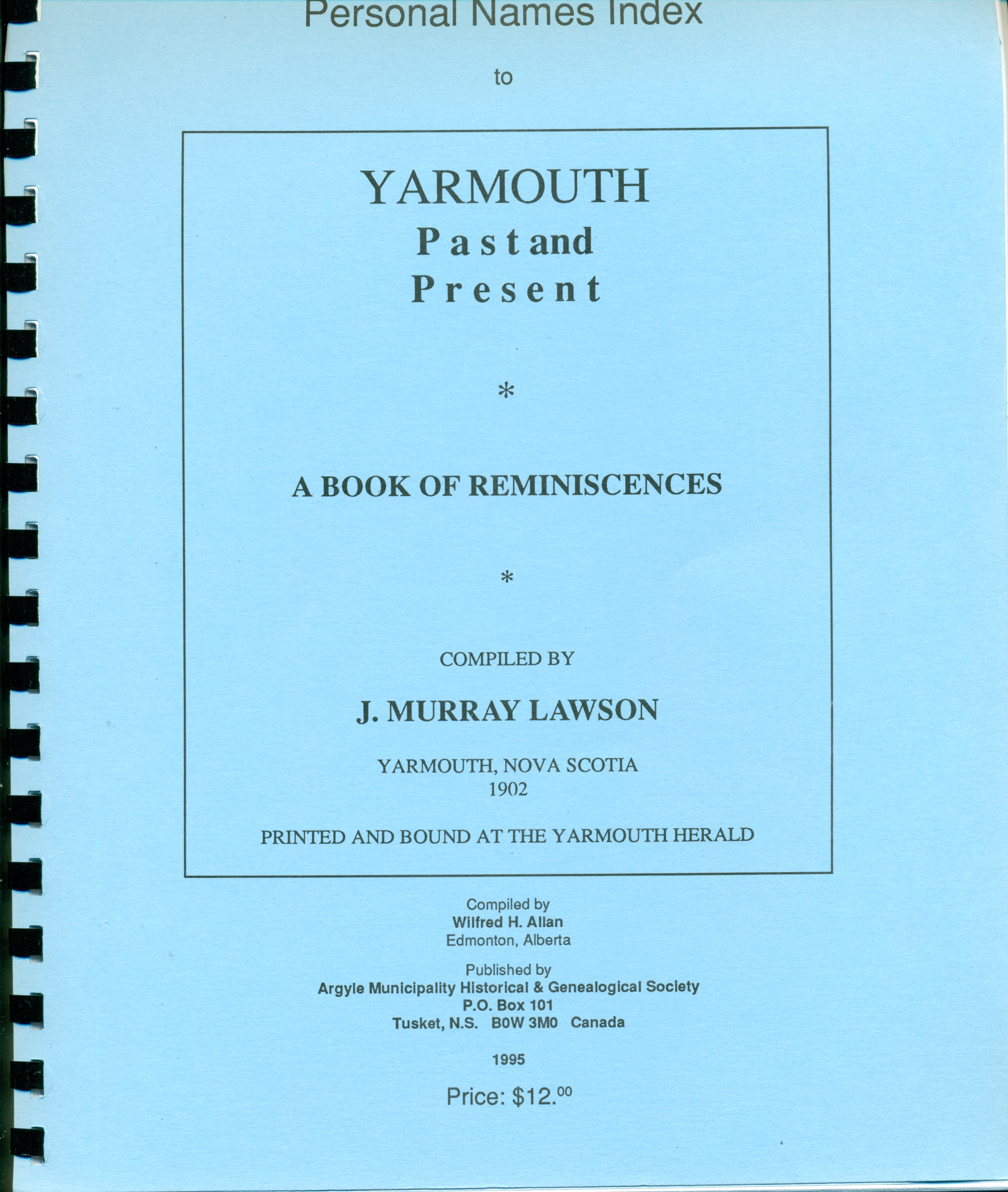 Index to Yarmouth Reminiscences